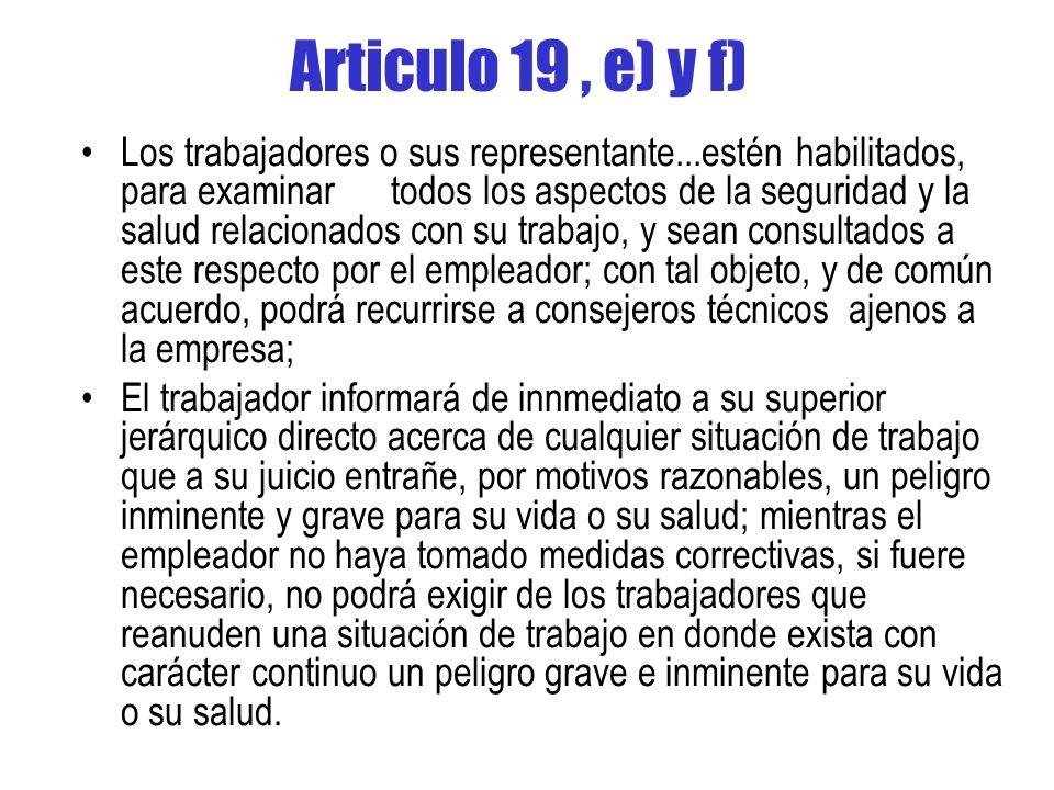 Articulo 19 , e) y f)