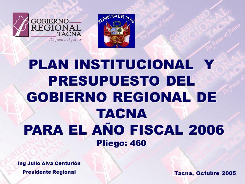 PLAN INSTITUCIONAL Y PRESUPUESTO DEL GOBIERNO REGIONAL DE TACNA