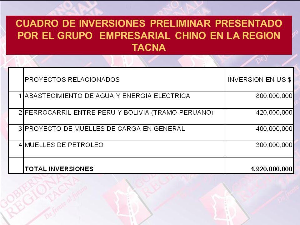 CUADRO DE INVERSIONES PRELIMINAR PRESENTADO POR EL GRUPO EMPRESARIAL CHINO EN LA REGION TACNA