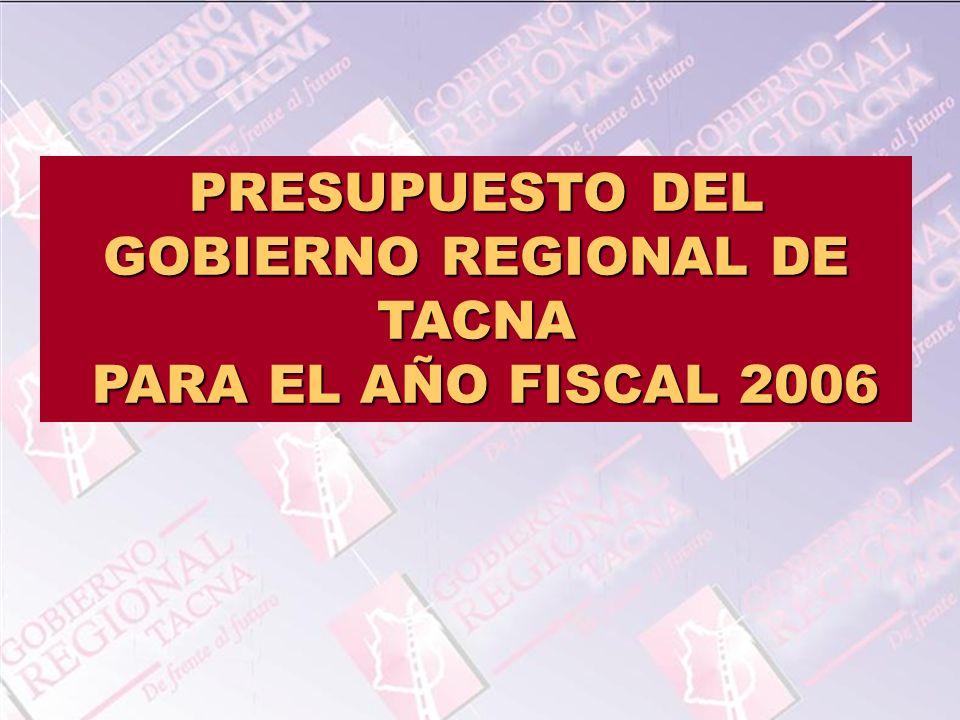 PRESUPUESTO DEL GOBIERNO REGIONAL DE TACNA
