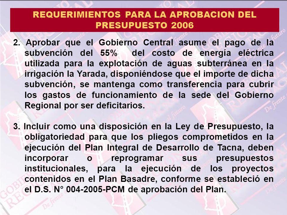 REQUERIMIENTOS PARA LA APROBACION DEL PRESUPUESTO 2006