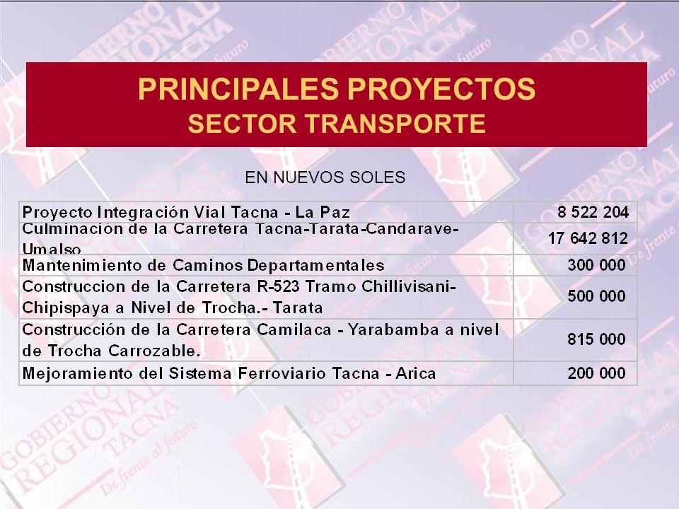 PRINCIPALES PROYECTOS SECTOR TRANSPORTE