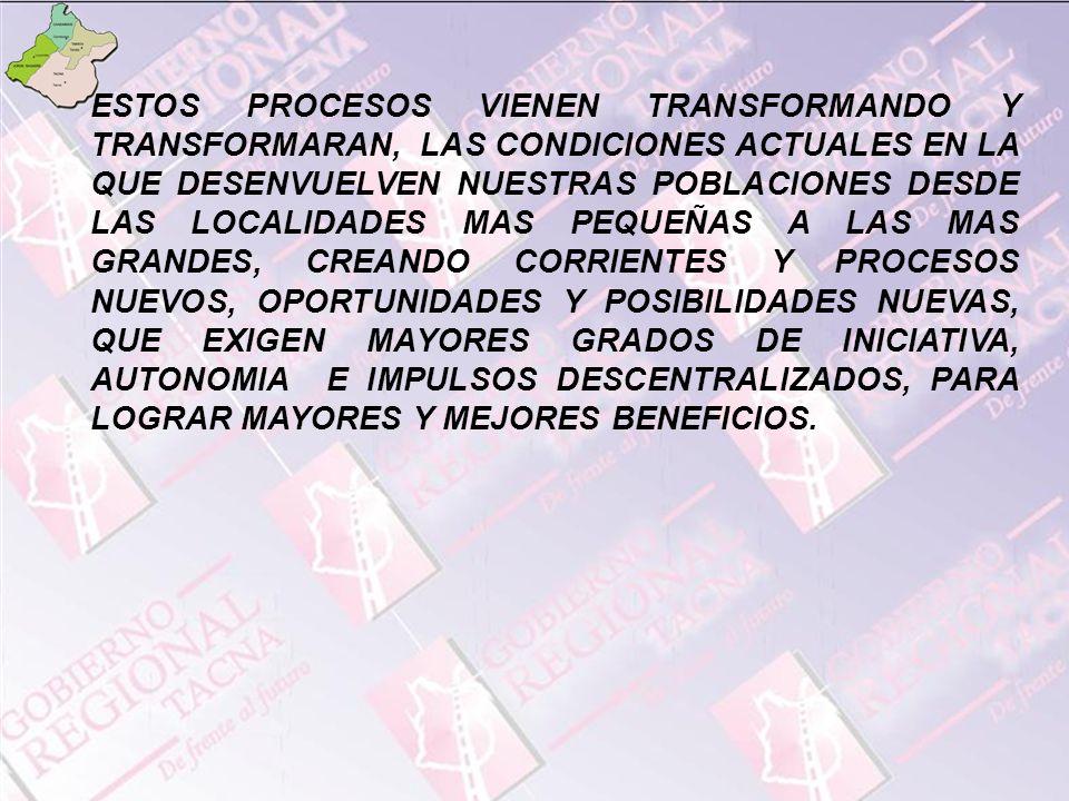ESTOS PROCESOS VIENEN TRANSFORMANDO Y TRANSFORMARAN, LAS CONDICIONES ACTUALES EN LA QUE DESENVUELVEN NUESTRAS POBLACIONES DESDE LAS LOCALIDADES MAS PEQUEÑAS A LAS MAS GRANDES, CREANDO CORRIENTES Y PROCESOS NUEVOS, OPORTUNIDADES Y POSIBILIDADES NUEVAS, QUE EXIGEN MAYORES GRADOS DE INICIATIVA, AUTONOMIA E IMPULSOS DESCENTRALIZADOS, PARA LOGRAR MAYORES Y MEJORES BENEFICIOS.