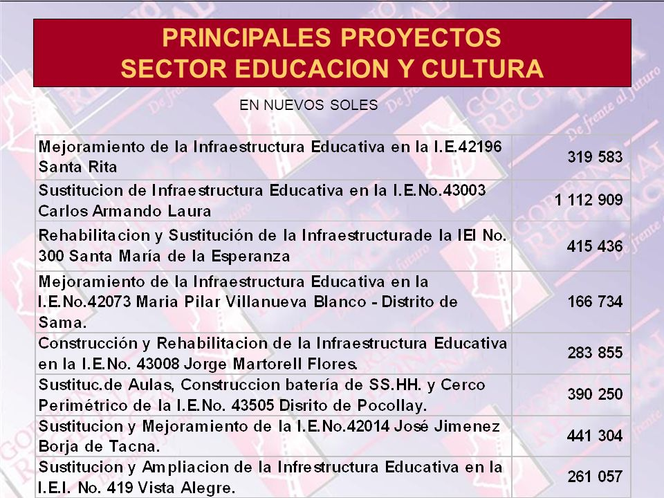 PRINCIPALES PROYECTOS SECTOR EDUCACION Y CULTURA