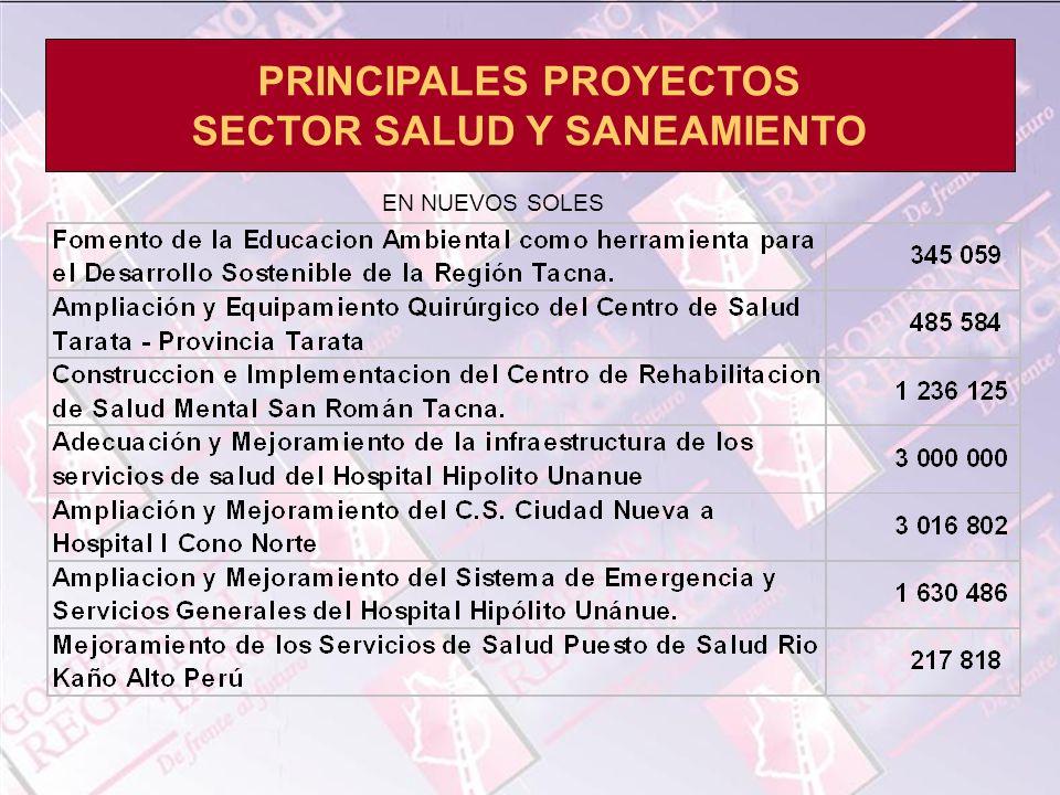 PRINCIPALES PROYECTOS SECTOR SALUD Y SANEAMIENTO