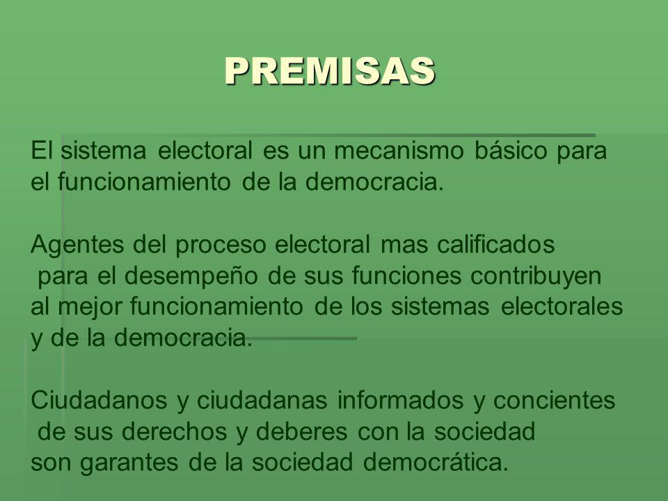 PREMISAS El sistema electoral es un mecanismo básico para