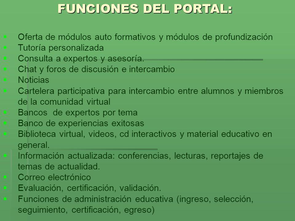 FUNCIONES DEL PORTAL: Oferta de módulos auto formativos y módulos de profundización. Tutoría personalizada.