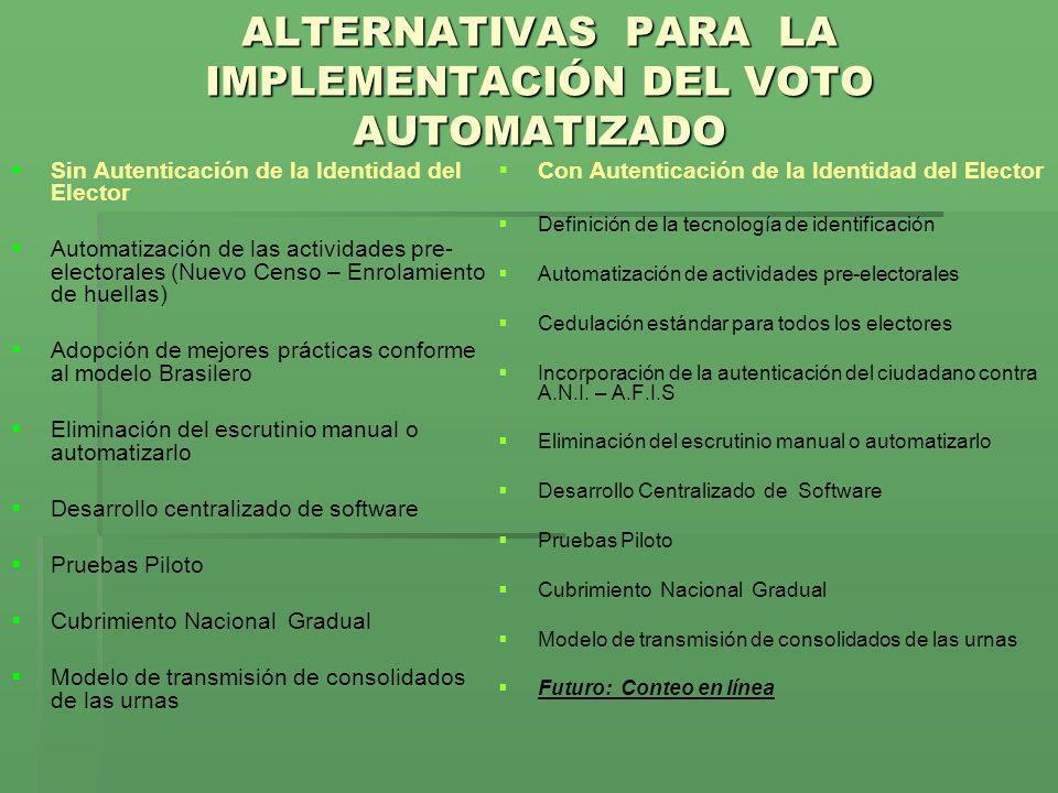 ALTERNATIVAS PARA LA IMPLEMENTACIÓN DEL VOTO AUTOMATIZADO