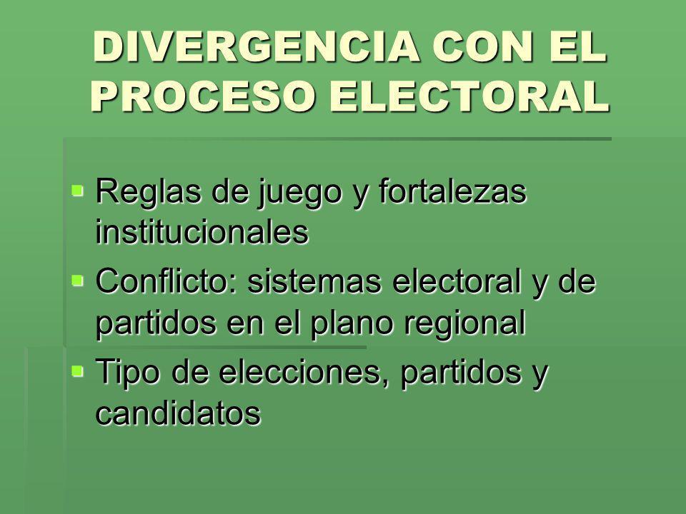 DIVERGENCIA CON EL PROCESO ELECTORAL