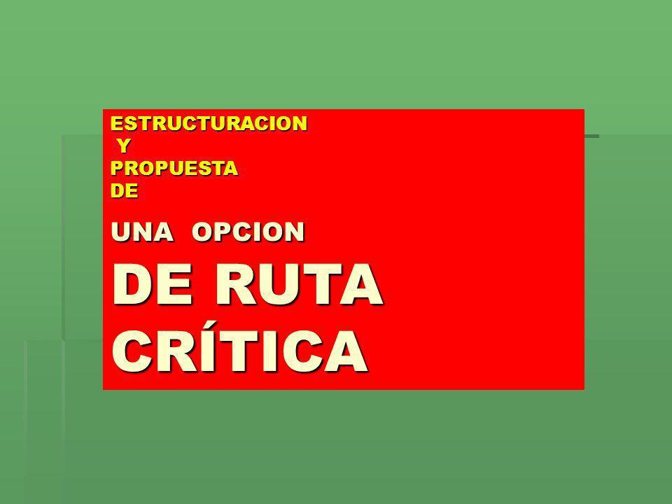 ESTRUCTURACION Y PROPUESTA DE UNA OPCION DE RUTA CRÍTICA