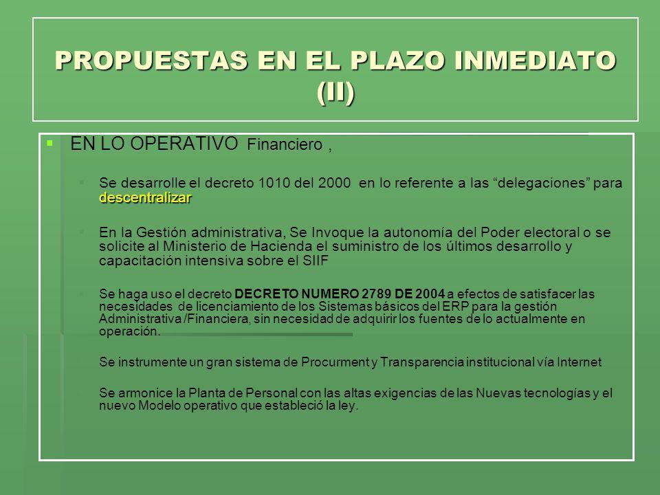 PROPUESTAS EN EL PLAZO INMEDIATO (II)