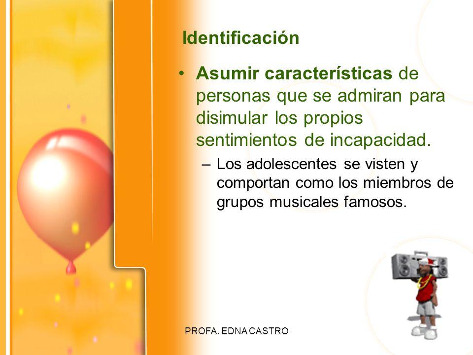 Identificación Asumir características de personas que se admiran para disimular los propios sentimientos de incapacidad.
