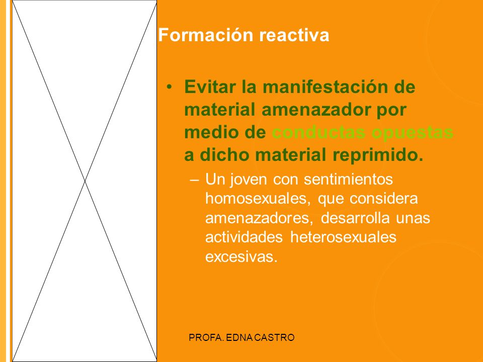 Formación reactiva Evitar la manifestación de material amenazador por medio de conductas opuestas a dicho material reprimido.