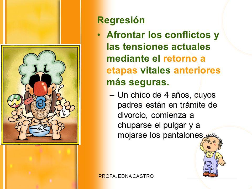 Regresión Afrontar los conflictos y las tensiones actuales mediante el retorno a etapas vitales anteriores más seguras.