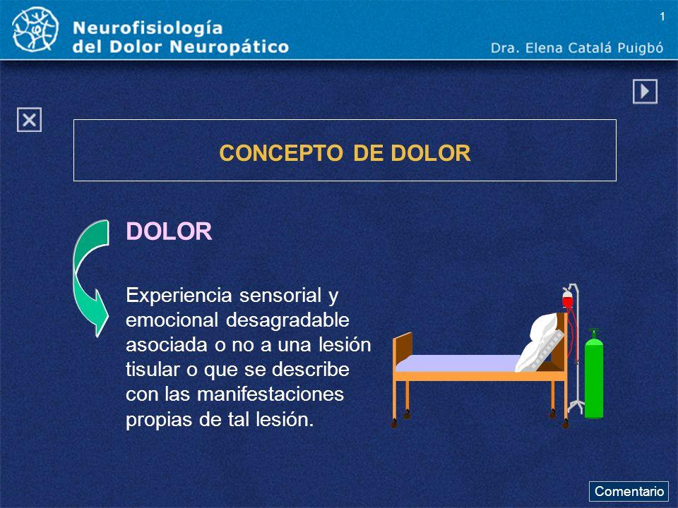 DOLOR CONCEPTO DE DOLOR Experiencia sensorial y emocional desagradable