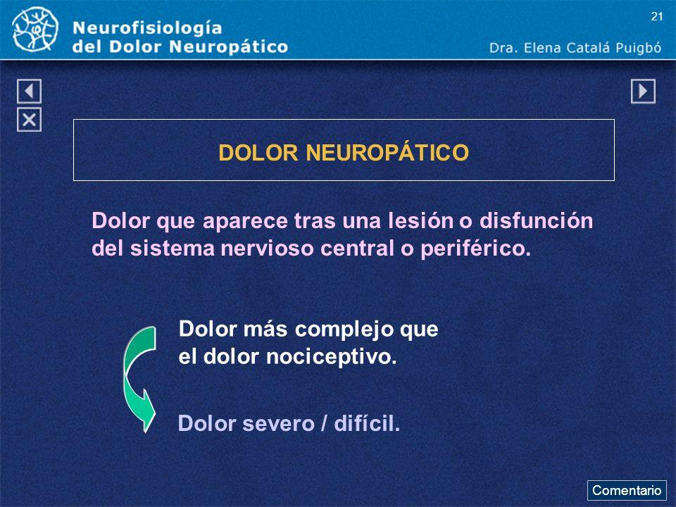 21 DOLOR NEUROPÁTICO. Dolor que aparece tras una lesión o disfunción del sistema nervioso central o periférico.