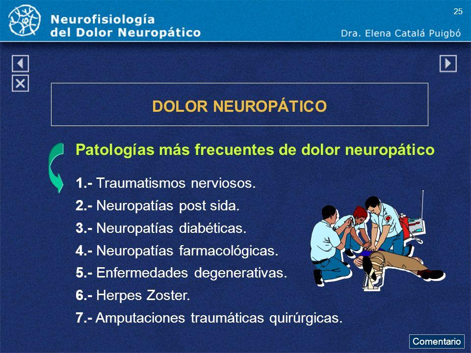 Patologías más frecuentes de dolor neuropático