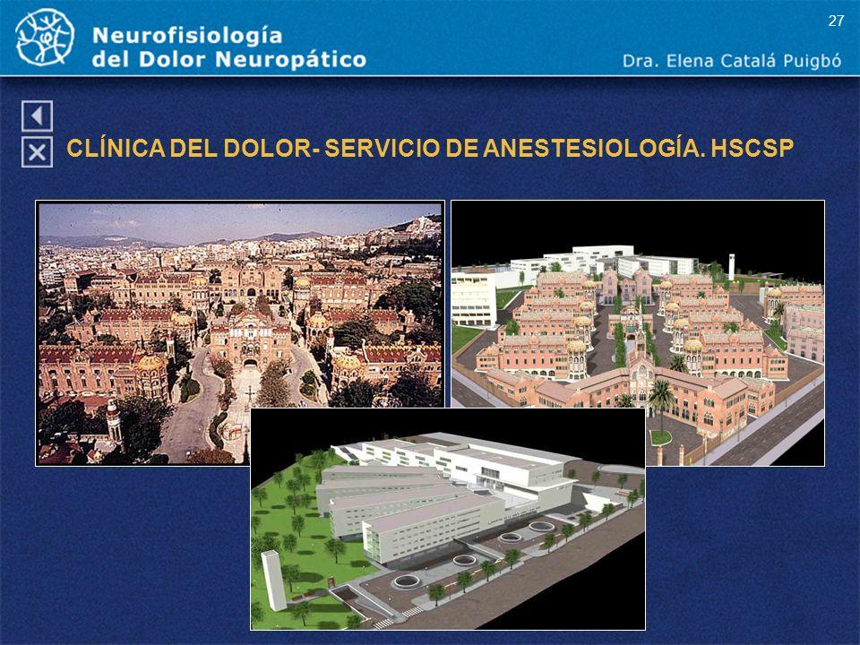 CLÍNICA DEL DOLOR- SERVICIO DE ANESTESIOLOGÍA. HSCSP