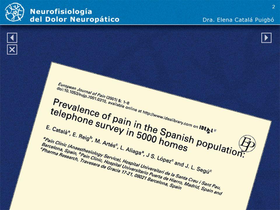 2 El dolor tiene una alta prevalencia en la población general española representando un gasto tanto social como económico.