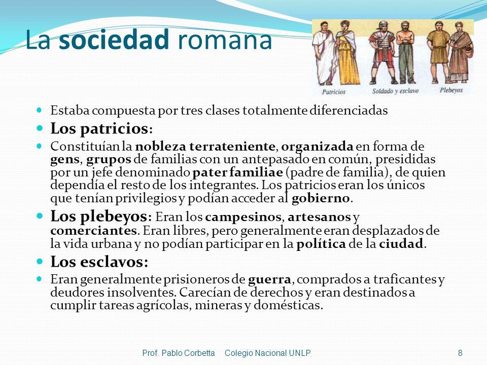La sociedad romana Los patricios: