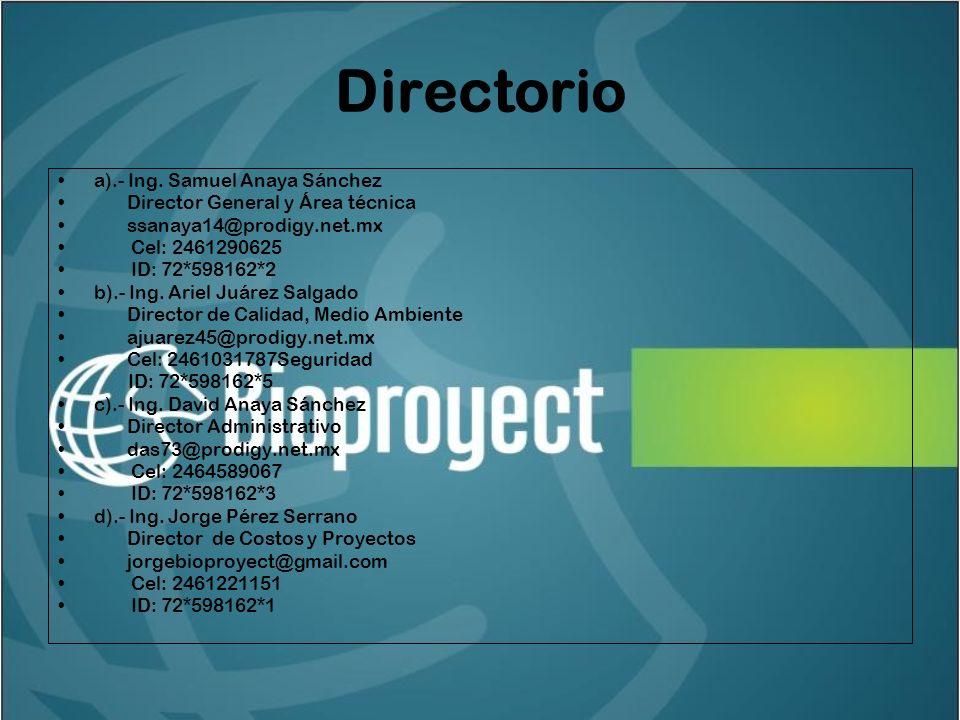 Directorio a).- Ing. Samuel Anaya Sánchez