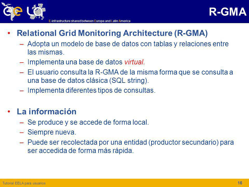 R-GMA Relational Grid Monitoring Architecture (R-GMA) La información