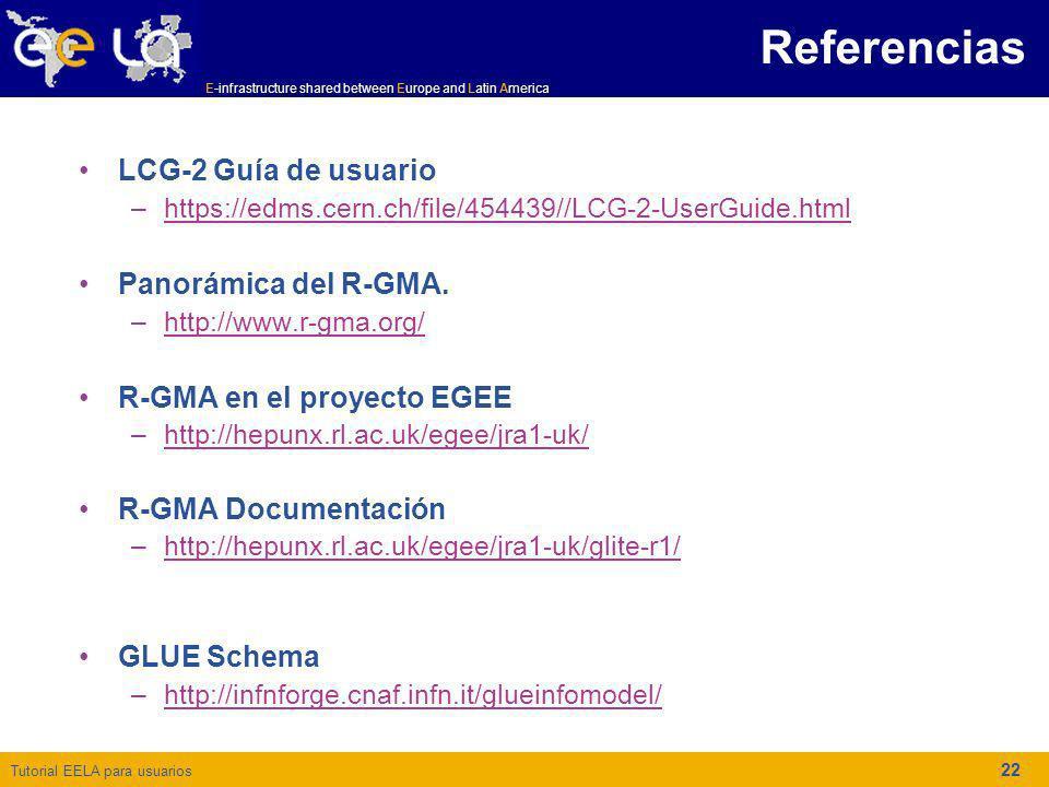 Referencias LCG-2 Guía de usuario Panorámica del R-GMA.