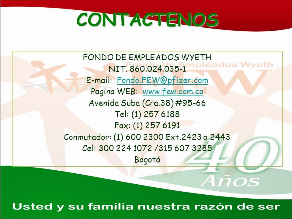 CONTACTENOS FONDO DE EMPLEADOS WYETH NIT. 860.024.035-1