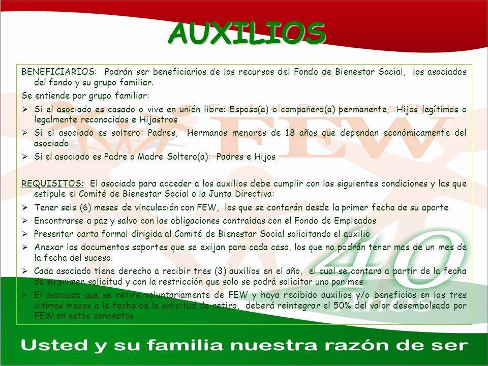 AUXILIOS BENEFICIARIOS: Podrán ser beneficiarios de los recursos del Fondo de Bienestar Social, los asociados del fondo y su grupo familiar.
