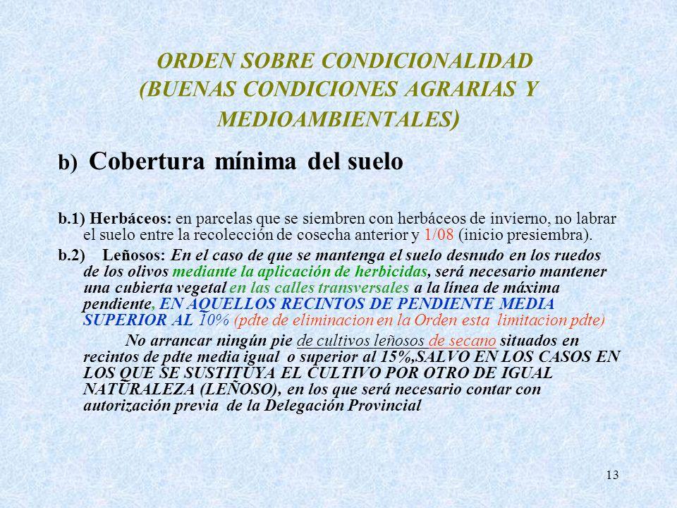 ORDEN SOBRE CONDICIONALIDAD (BUENAS CONDICIONES AGRARIAS Y MEDIOAMBIENTALES)