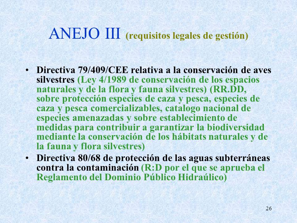 ANEJO III (requisitos legales de gestión)