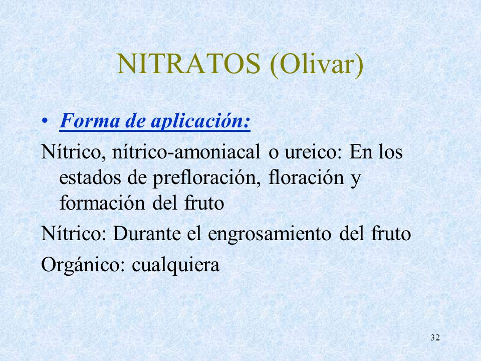 NITRATOS (Olivar) Forma de aplicación: