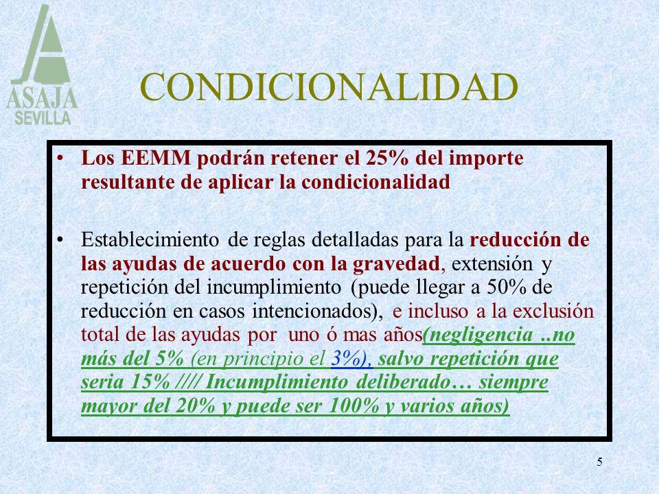 CONDICIONALIDAD Los EEMM podrán retener el 25% del importe resultante de aplicar la condicionalidad.