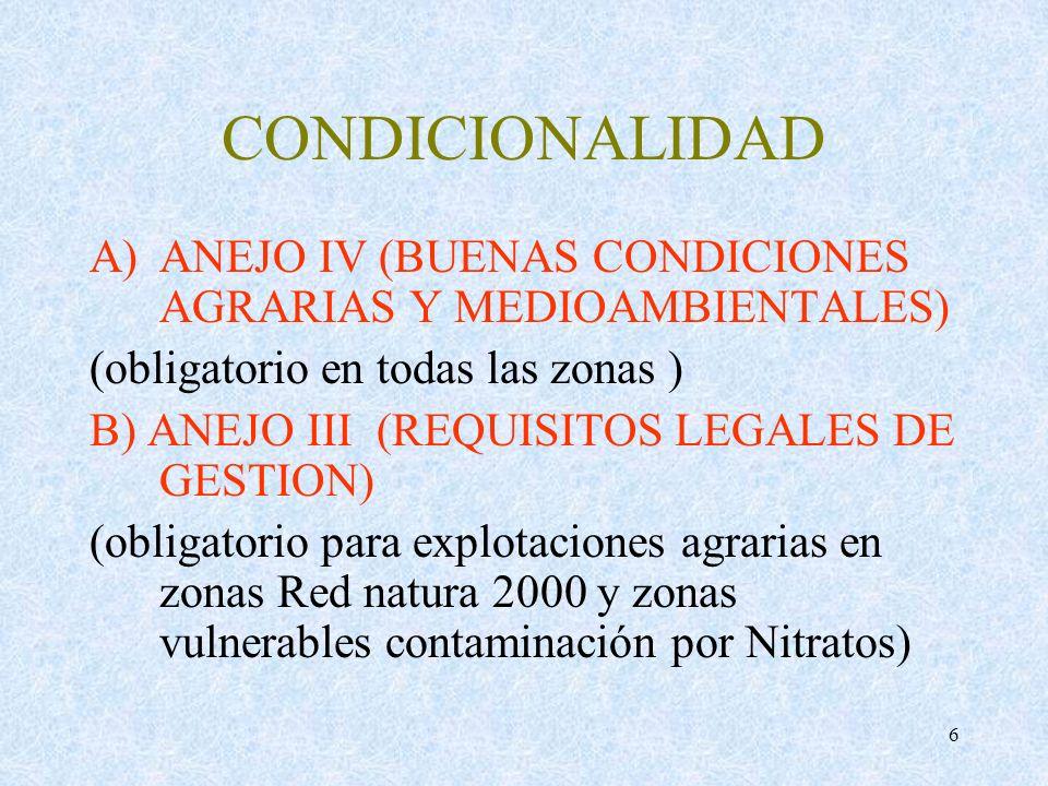 CONDICIONALIDAD ANEJO IV (BUENAS CONDICIONES AGRARIAS Y MEDIOAMBIENTALES) (obligatorio en todas las zonas )