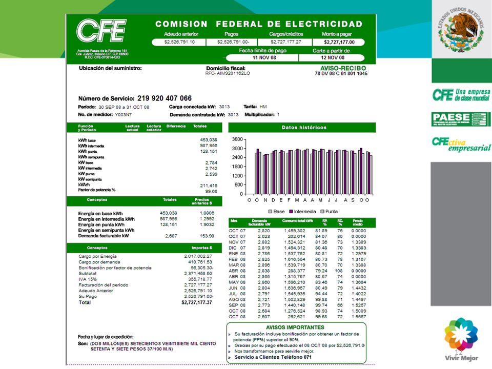 Factor de Potencia 12. PAESE Av. San Rafael 211A Col. Santa Cecilia Tel. (55) 5229 44 00 Exts. 96522 y 96561.