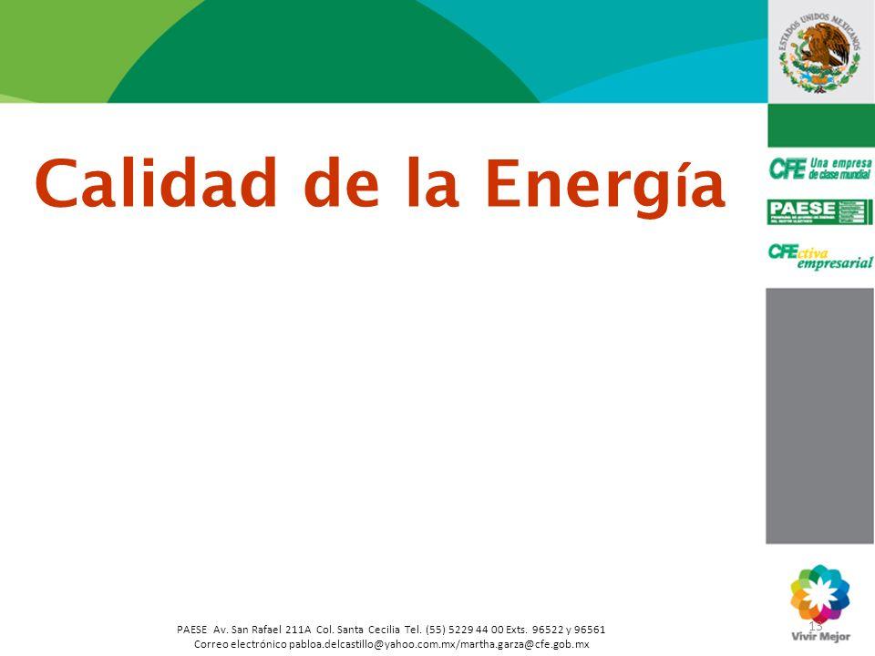 Calidad de la Energía 13. PAESE Av. San Rafael 211A Col. Santa Cecilia Tel. (55) 5229 44 00 Exts. 96522 y 96561.
