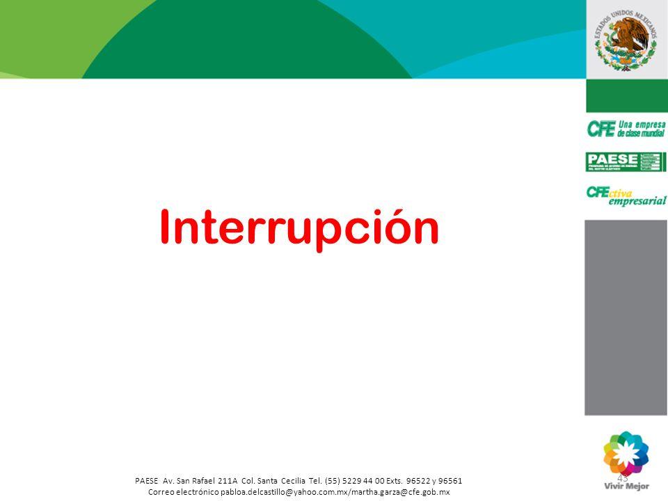 Interrupción 43. PAESE Av. San Rafael 211A Col. Santa Cecilia Tel. (55) 5229 44 00 Exts. 96522 y 96561.