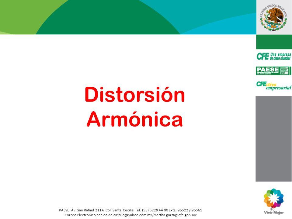 Distorsión Armónica 48. PAESE Av. San Rafael 211A Col. Santa Cecilia Tel. (55) 5229 44 00 Exts. 96522 y 96561.