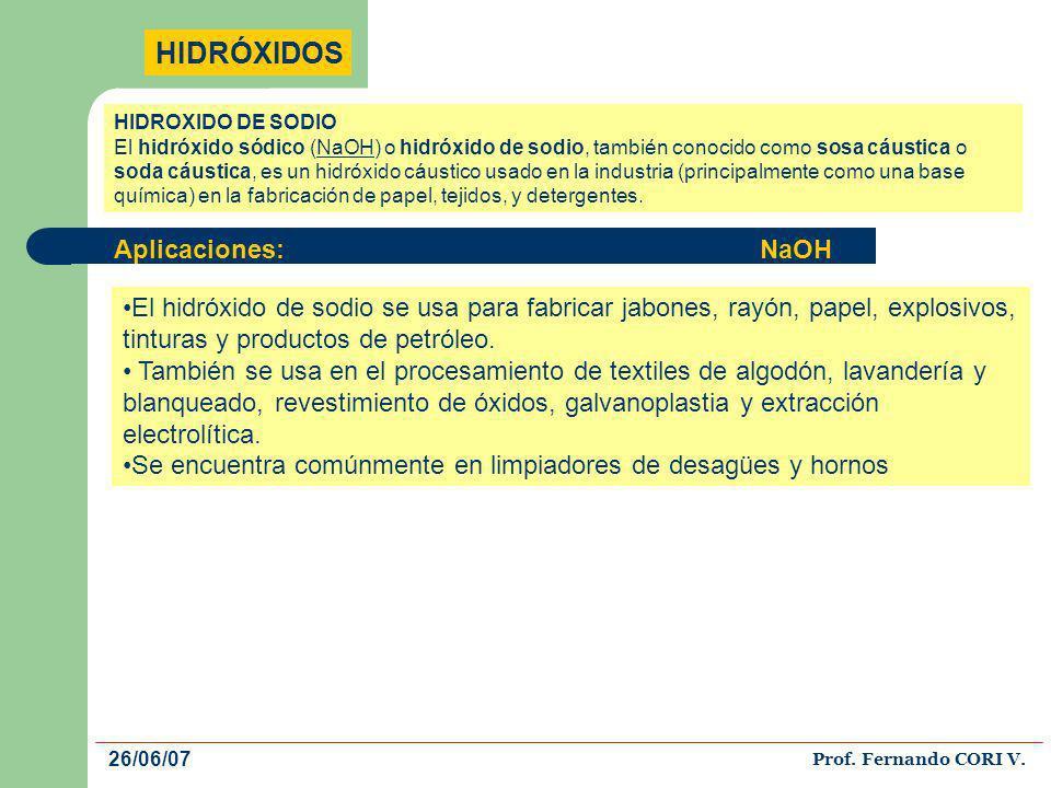 HIDRÓXIDOS Aplicaciones: NaOH