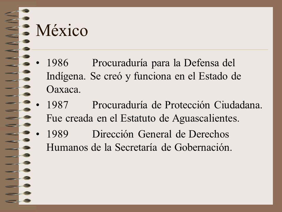 México 1986 Procuraduría para la Defensa del Indígena. Se creó y funciona en el Estado de Oaxaca.