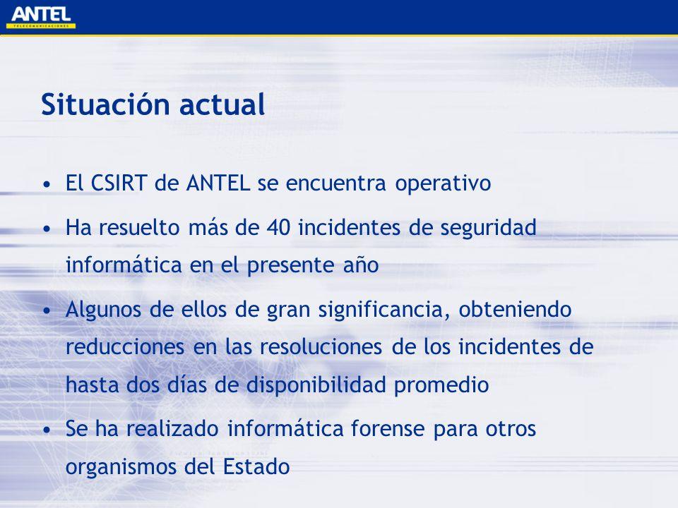 Situación actual El CSIRT de ANTEL se encuentra operativo