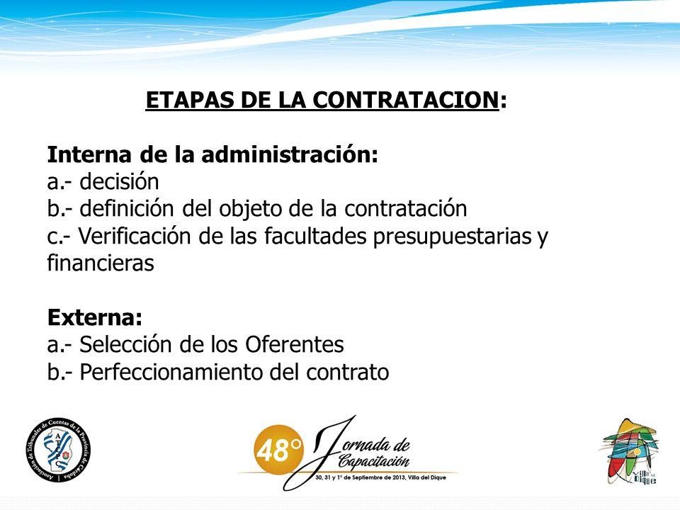 ETAPAS DE LA CONTRATACION: