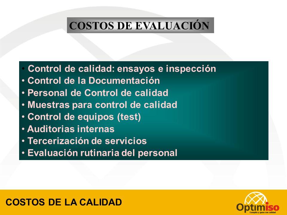 COSTOS DE EVALUACIÓN Control de calidad: ensayos e inspección