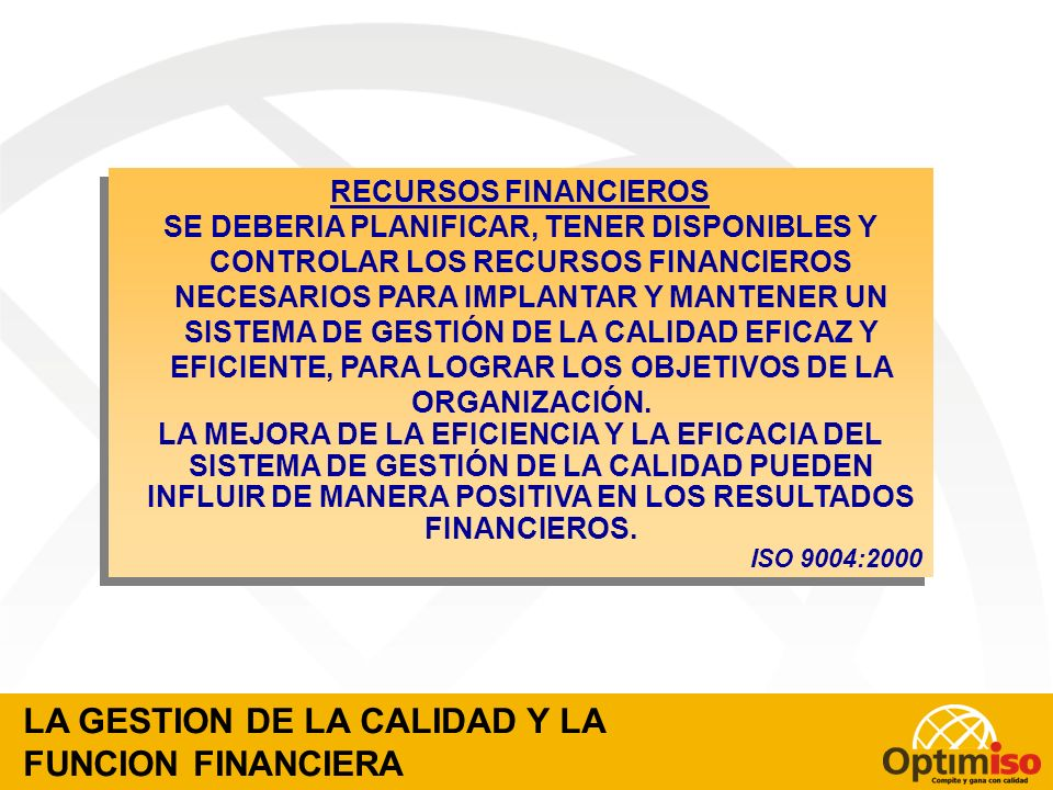 LA GESTION DE LA CALIDAD Y LA FUNCION FINANCIERA