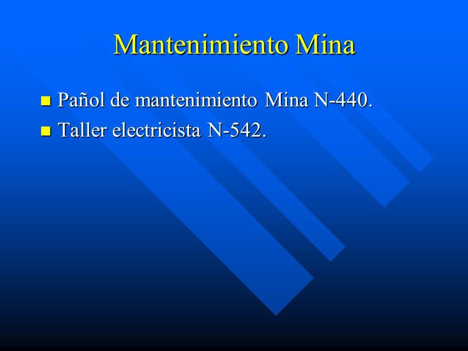 Mantenimiento Mina Pañol de mantenimiento Mina N-440.