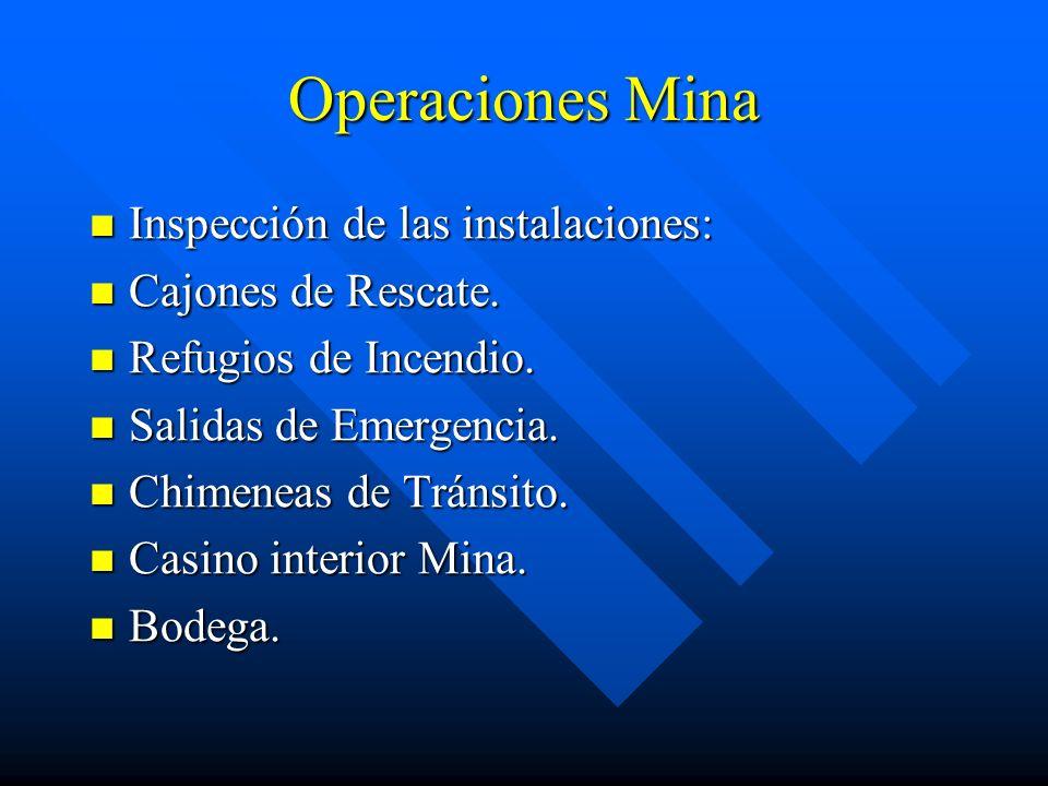 Operaciones Mina Inspección de las instalaciones: Cajones de Rescate.