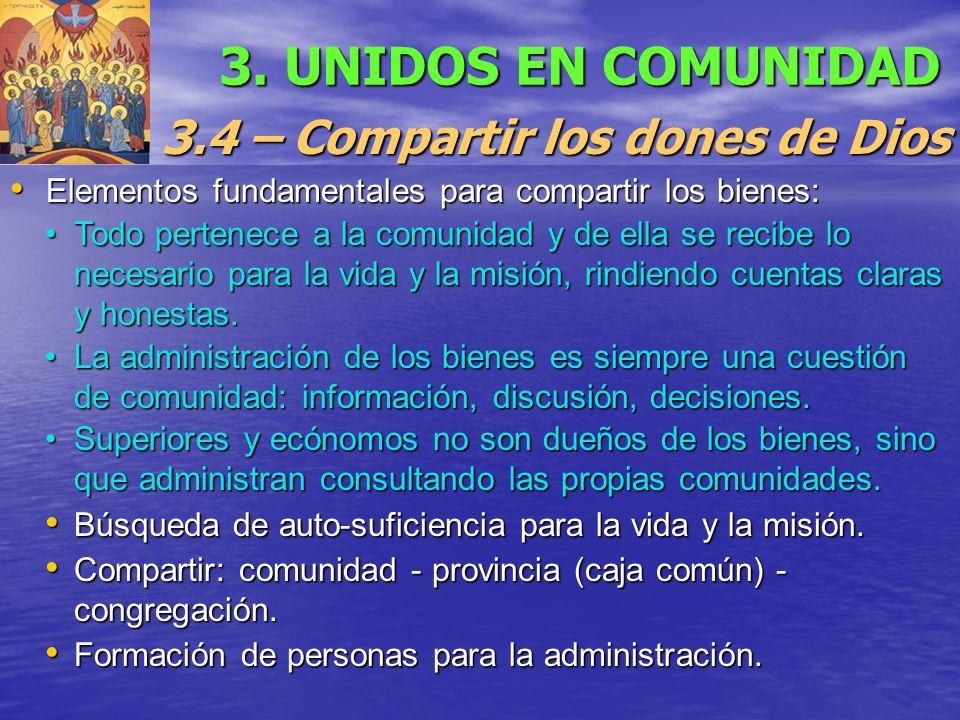 3.4 – Compartir los dones de Dios