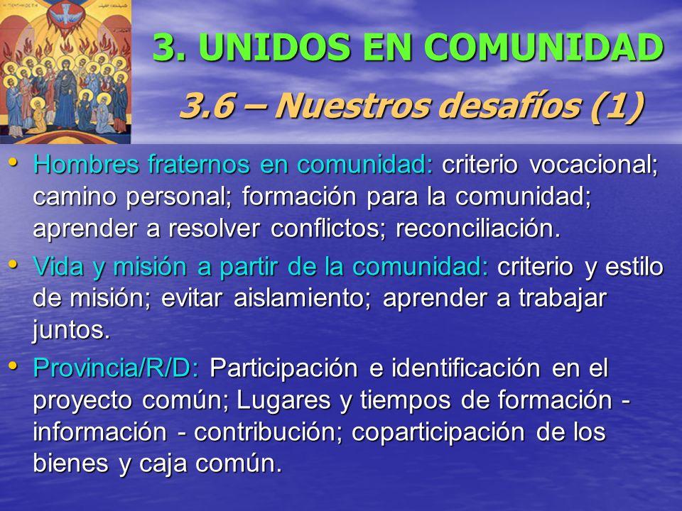 3. UNIDOS EN COMUNIDAD 3.6 – Nuestros desafíos (1)