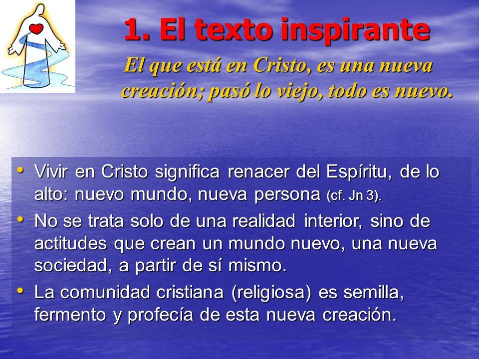 1. El texto inspirante El que está en Cristo, es una nueva creación; pasó lo viejo, todo es nuevo.