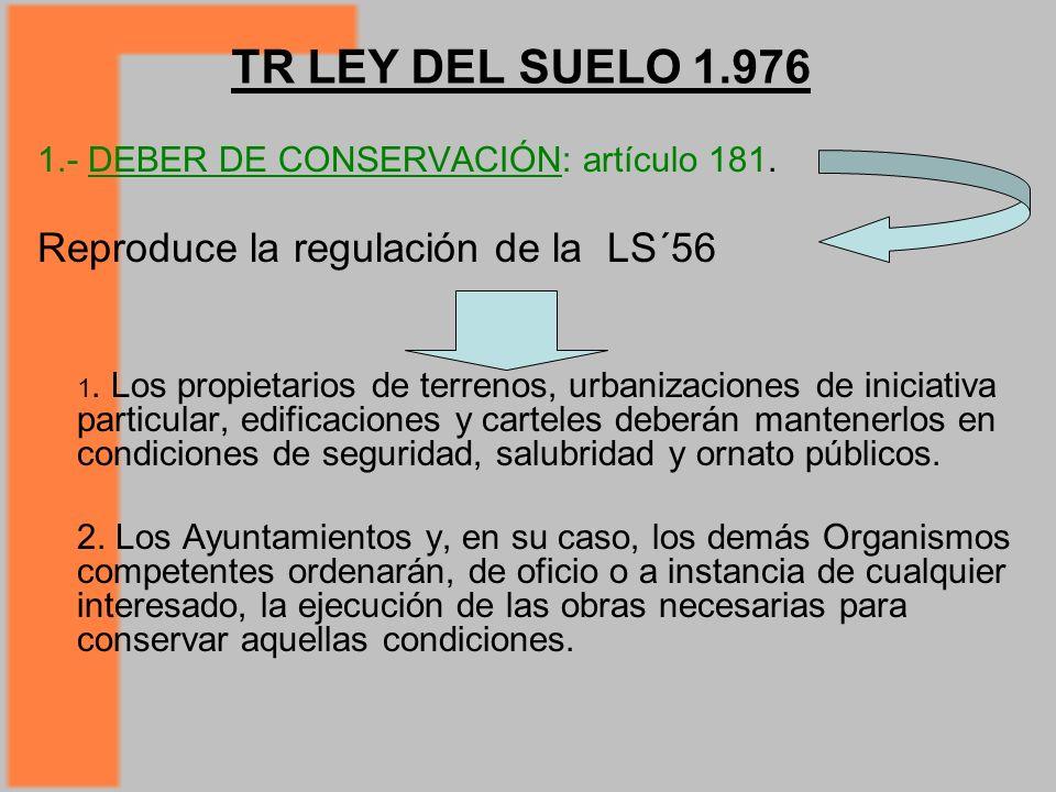 TR LEY DEL SUELO 1.976 Reproduce la regulación de la LS´56